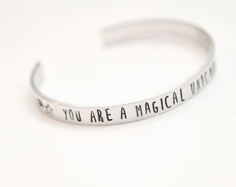 unicorn bracelet, unicorn gift, unicorn cuff, cuff bracelet, gift for her, handstamped cuff, unicorn,  stamped bracelet, stamped cuff
