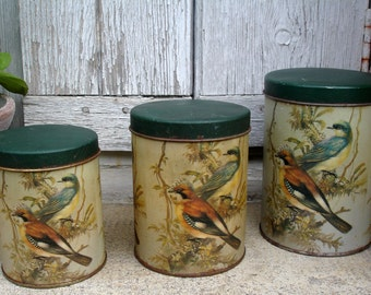 French vintage nesting tins, set of 3 nesting tin canisters, vintage tins decorated with birds