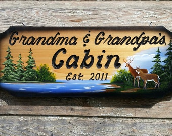 Hand painted, Hand carved cedar sign, polyurathaned for outdoor display,  deer scene,  9 1/2 × 24 inches,