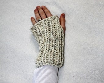 Chunky Knit Gloves, Fingerless Knit Gloves, Knit Hand Warmers Salem Gloves - Wheat