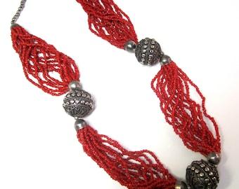 Vintage Tibetan Coral & Metal Ball Necklace