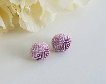 Earrings - Girasol - Wrap Scrap Earrings - Wrap Scrap - Diamonds Weave - Titanium - Pink