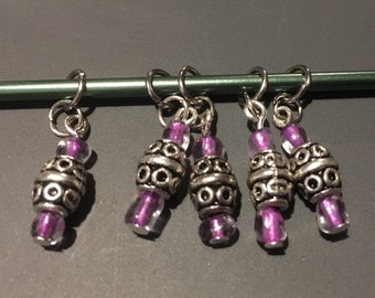 Silver/Purple Stitch Markers