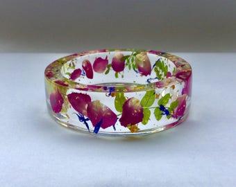 Resin flower bangle,Rose petal resin bangle,botanical bangle,flower bracelet