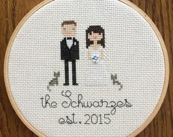 Cross stitch wedding portrait - custom
