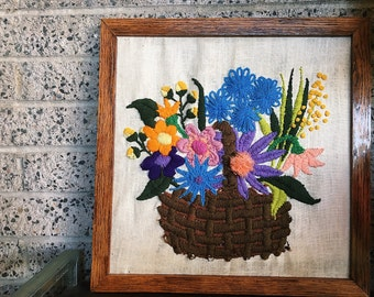 Vintage Framed Crewel Floral Embroidery Wall Art 1970s