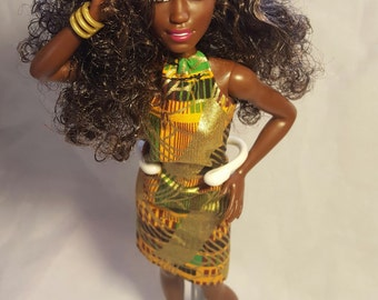Natural doll with African print dress