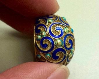 Vintage 14K Gold Ring With Enameling, Size 6.5
