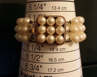 Victorian Pearl Multi-Stranded Bracelet With Large 14K Yellow Gold Clasp