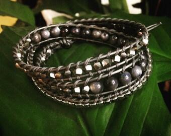 Trip Wrap Silver & Jet Stone Leather Bracelet