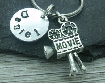 Movie camera hand stamped keyring, movie camera keyring, movie camera keychain, film director personalised gift, custom name word