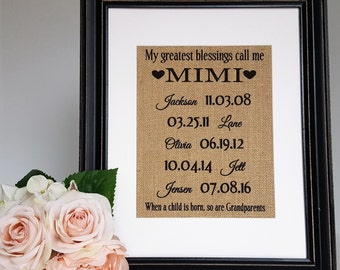 Mimi Gift - Meme Gifts - Mimi Sign - Mimi - Meme - Gift From Grandkids - Grandma Sign - Mothers Day Gift - Grandma Gift - Grandkids Sign