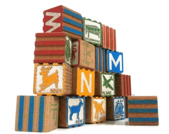Vintage Toy Wood Blocks | 17 Ridged Wooden Children's Blocks | Old Learning Building Blocks | Seventeen Alphabet Picture Blocks