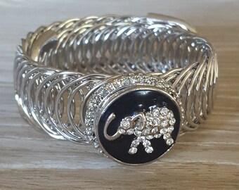 Silver Snap Button Bangle Bracelet