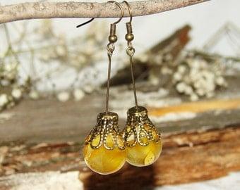 Flower Resin Earrings, Earrings Real Flower, Yellow Flower Earrings, Resin Earrings, Flower Jewelry, Real Flower Earrings, Dangle Earrings