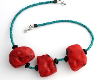 Turquoise Necklace with Red Coral KT4125