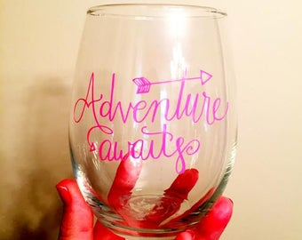 Adventure Awaits stemless wine glass