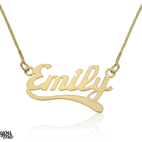 custom name necklaces solid gold 14k gold by youmegoldjewelry