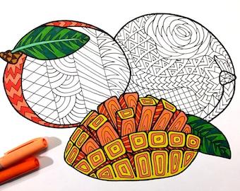 Mangoes - PDF Zentangle Coloring Page