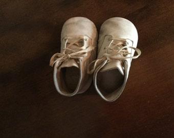 Vintage Leather Baby Shoes Circa 1940 Size Small