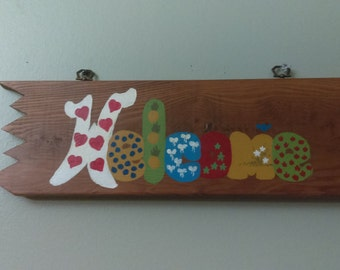 Hand-Painted Wooden Welcome Sign, Rustic Welcome Sign, Door Hand Painted Sign