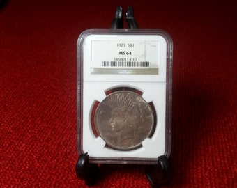 Vintage 1923 Peace Dollar NGC MS-64 Graded Silver Dollar Free Shipping