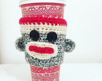 Sock Monkey Coffee Cozie