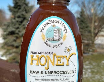 Raw Unprocessed Pure Michigan Honey - 1 lbs