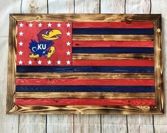 KU Kansas University Jayhawks wooden flag wall hanging -- ready to hang