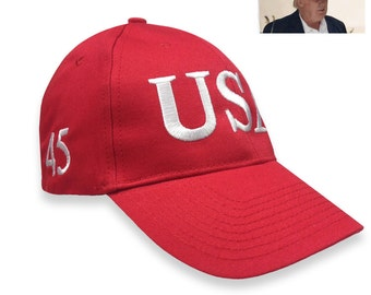 Trump Usa 45 President Inauguration 100% cotton Red or Navy Cap with White Embroidery Hat Free shipping