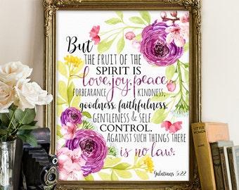 Galatians 5:22 printable, Bible printable, Bible print, Bible quote, Scripture quote, scripture printable, Bible floral printable, bible art