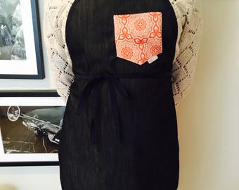 Ready /tablier women / women apron / kitchen apron / navy blue jeans and coral and white pocket / Navy blue jeans and coral Pocket