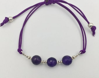 Bracelet in silver and amethyst