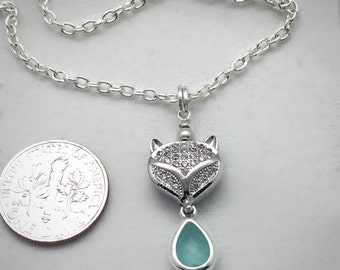 Silver Necklace Pave Fox and Chalcedony Bezel Charm Dangle Pendant on Chain