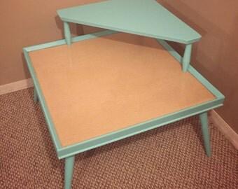 Reclaimed Mid Century Modern Aqua Blue Two Tier Table
