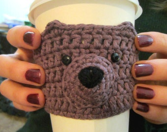 Purple Bear Cup Cozy, Mug Warmer, Gift for Her, Coffee Sleeve, Mug Cosy, Gift for Women, Tea Cover, Coffee Cup Sleeve, Cup Holder, Cute Gift