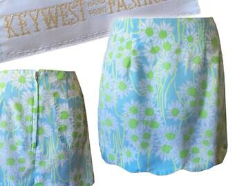 "Vintage 60s Mod Pastel Floral Scalloped Mini Skirt — 14.5""W"