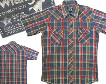 Vintage WRANGLER Plaid Snap Front Western Shirt
