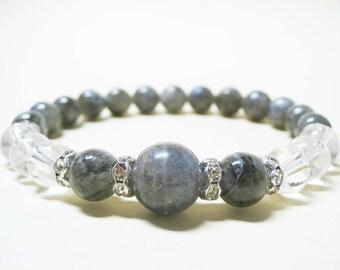 Labradorite Bracelet Clear Quartz Crystal Bracelet Gemstone Bracelet Energy Bracelet Healing Bracelet Balance Bracelet Meditation Bracelet
