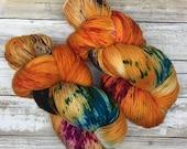 Hand Dyed Yarn | Superwash Merino Wool/Nylon Blend | Fluffy Sock/Fingering Weight | 100 g. | Pumpkin Carving | 4-ply