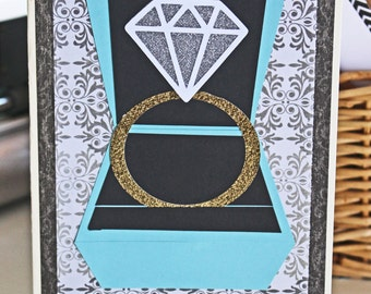 Solitaire, Diamond, Engagement, Ring, Tiffany, Blue, Ring, Box, Handmade, Card, Congratulations, Congrats, Engaged, Bride, Wedding, Bridal