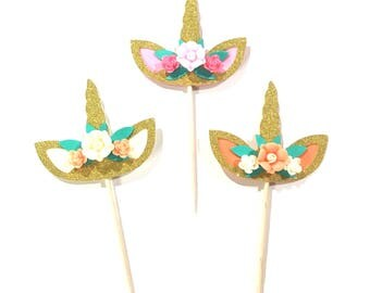 10 pcs Flowers Unicorn Horn Ear Cupcake Topper Gold Glitter Birthday Baby Boy Girl Whimsical Theme