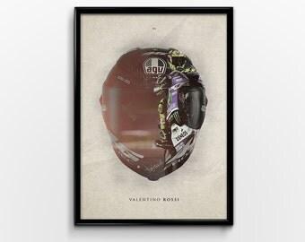 Valentino Rossi Moto GP Motorbike Sports Bike Double Exposure Print Poster