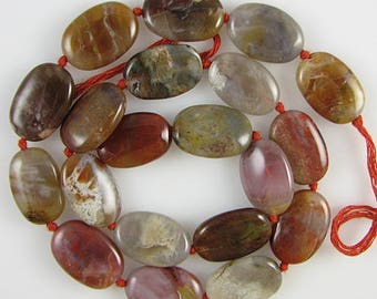 "18mm brown agate flat oval beads 15.5"" strand S1 2378"