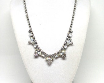 Classy Dazzling High End Dangle Clear Rhinestone Vintage Estate Necklace
