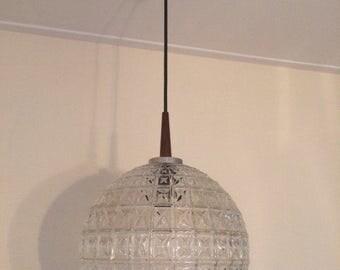 Mid century Danish pendant lamp / glass / vintage / retro / teak / 1960s