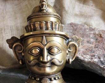 Brass Shiva Mukhalingam Of Lord Shiva - The Supreme Creater & Destroyer of Evil, Hindu God Shiva, Brass Sculpture of Shiva, Indian Mythology