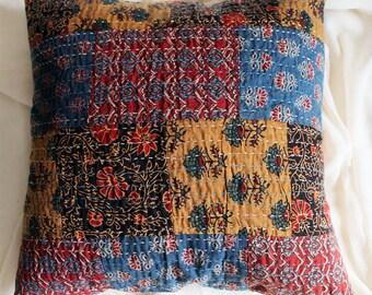 Ajrak Hand Block Print Kantha Throw Pillow | Cushion Cover,  40 cm x 40 cm, Cotton Cushion Cover, Block Printed Patchwork Cushion Cover