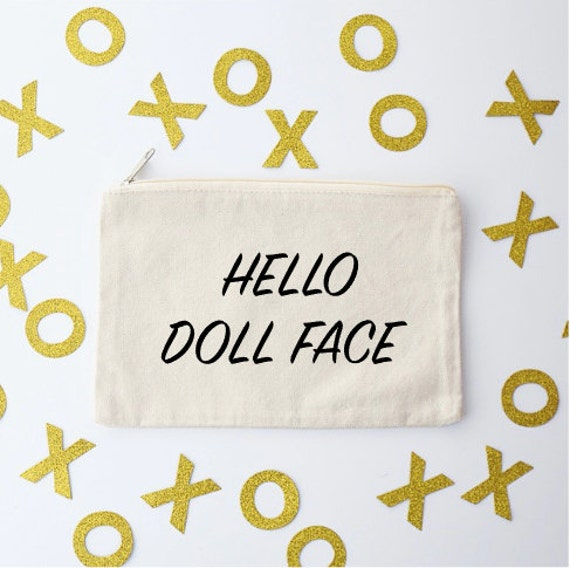 Canvas Cosmetic Bag: Hello Doll Face - Makeup Bag