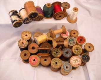 Vintage Wooden Spools of Thread